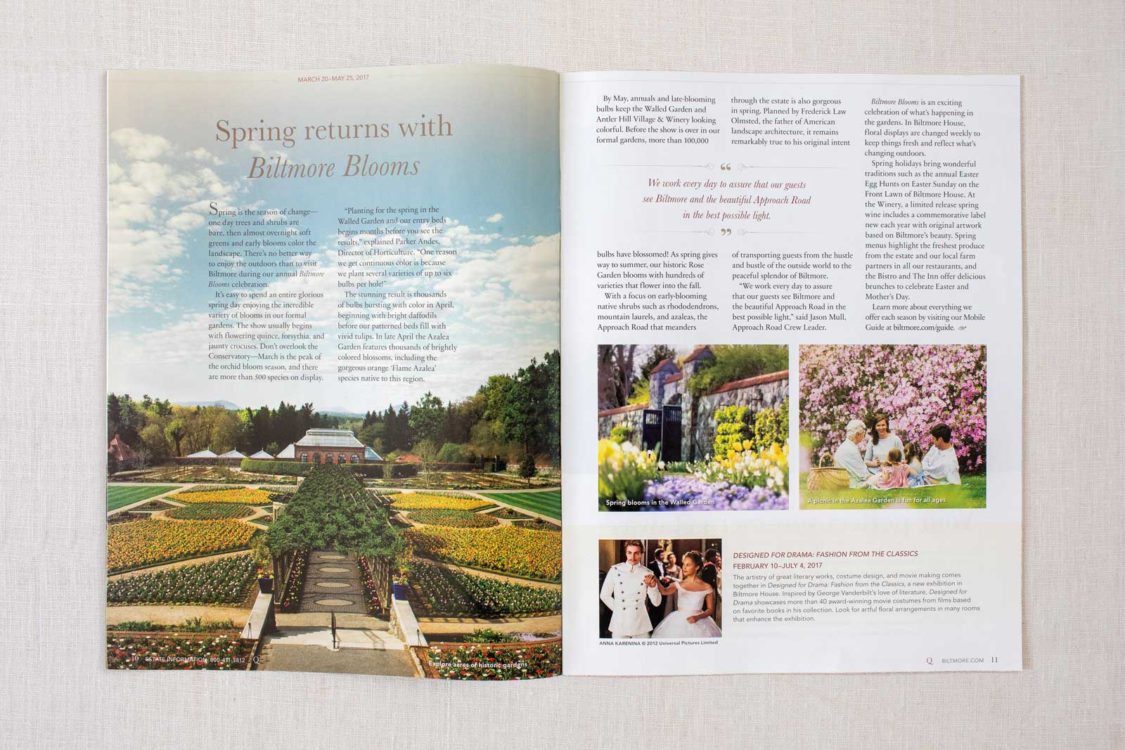 Biltmore Estate Quintessential Magazine spread with the front of Biltmore  flower garden and greenhouse in Spring