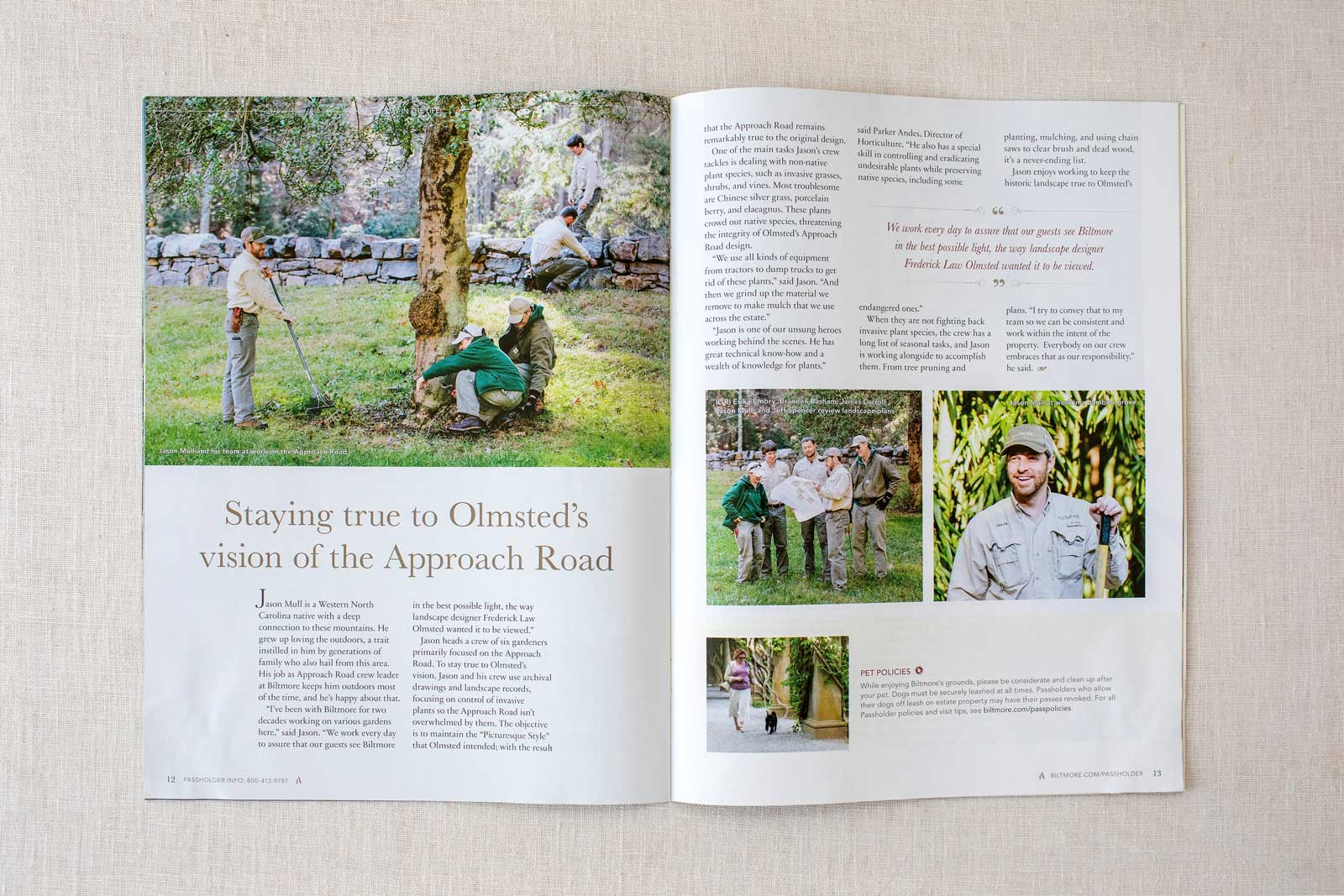 Biltmore Estate Ambassador Magazine spread with groundskeepers maintaining a tree on Approach Road
