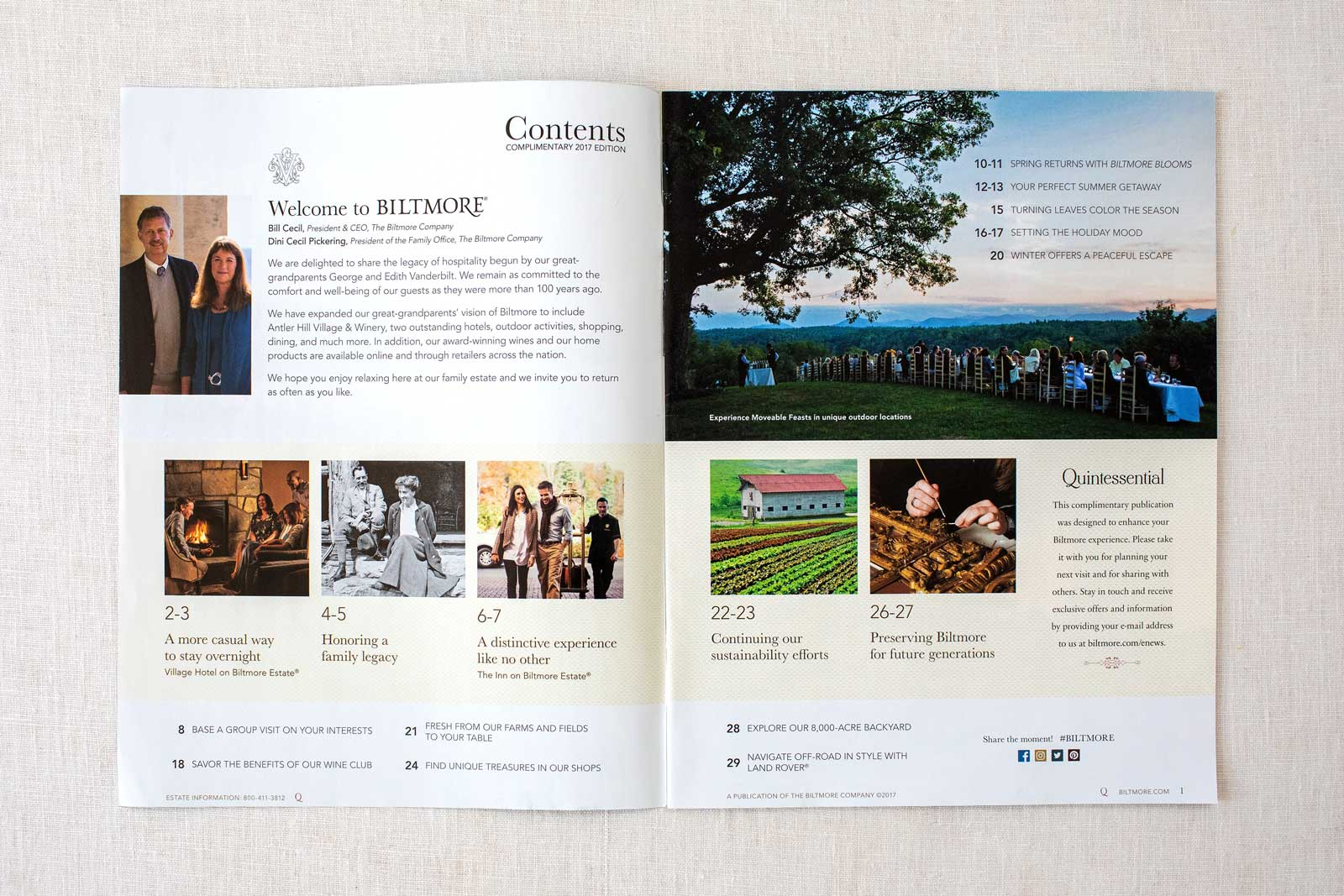 Biltmore Estate Quintessential Magazine pages with table of contents and outdoor dinner
