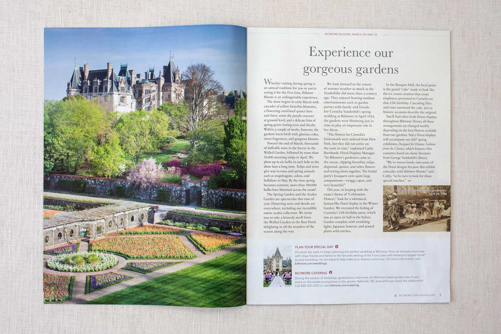Biltmore Estate Ambassador Magazine spread with the front of Biltmore House and flower garden in Spring