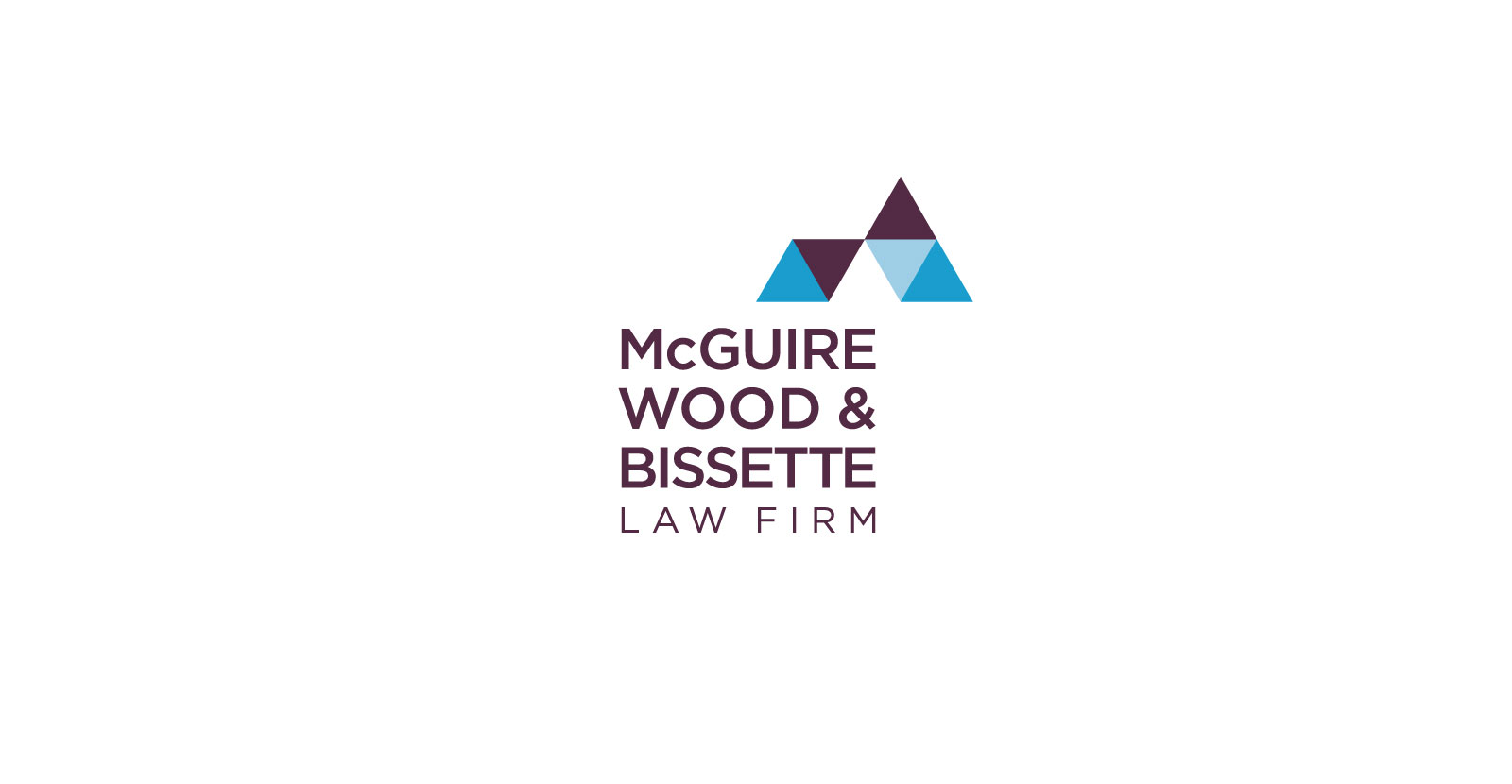 McGuire Wood & Bissette Law Firm primary logo in burgundy and blue, shown against a white background.