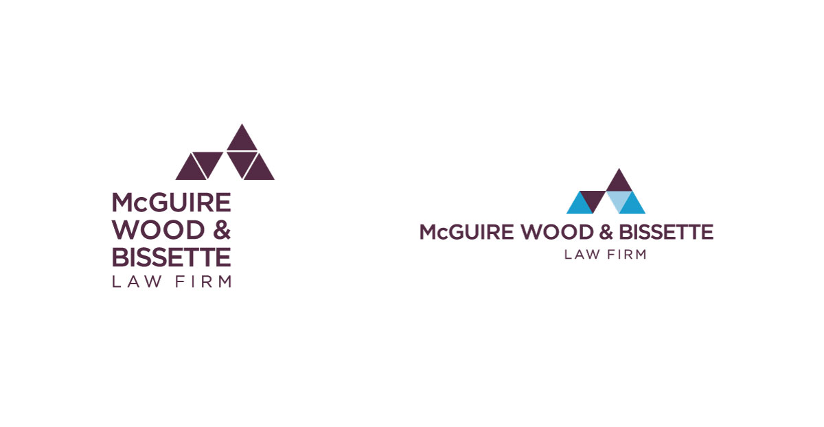 McGuire Wood & Bissette Law Firm alternative logos in burgundy and blue, shown against a white background.