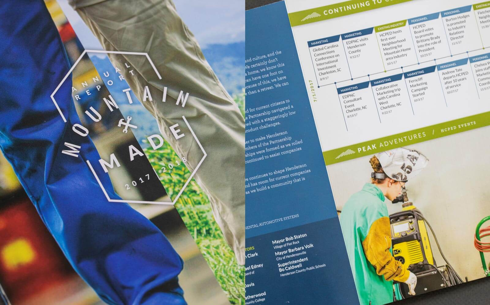 Henderson County Partnership for Economic Development (HCPED) annual report cover and spread detail featuring outdoor products and manufacturing