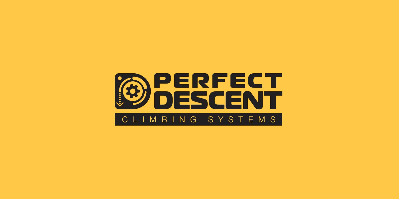 Perfect Descent updated horizontal logo in black shown on a yellow background.