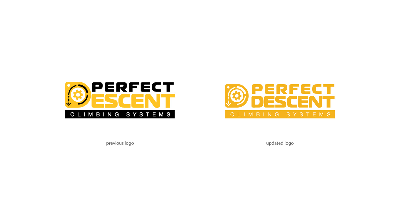 "A before and after sample of Perfect Descent logo featuring a capital ""D"" and gear."