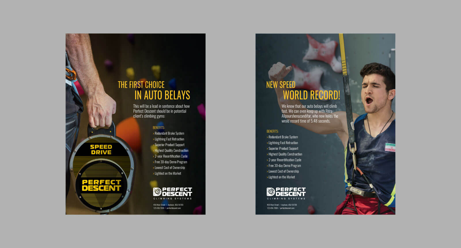 rectangular print advertisements for Perfect Descent highlighting auto-belay mechanism and climbing wall with male speed climber champion