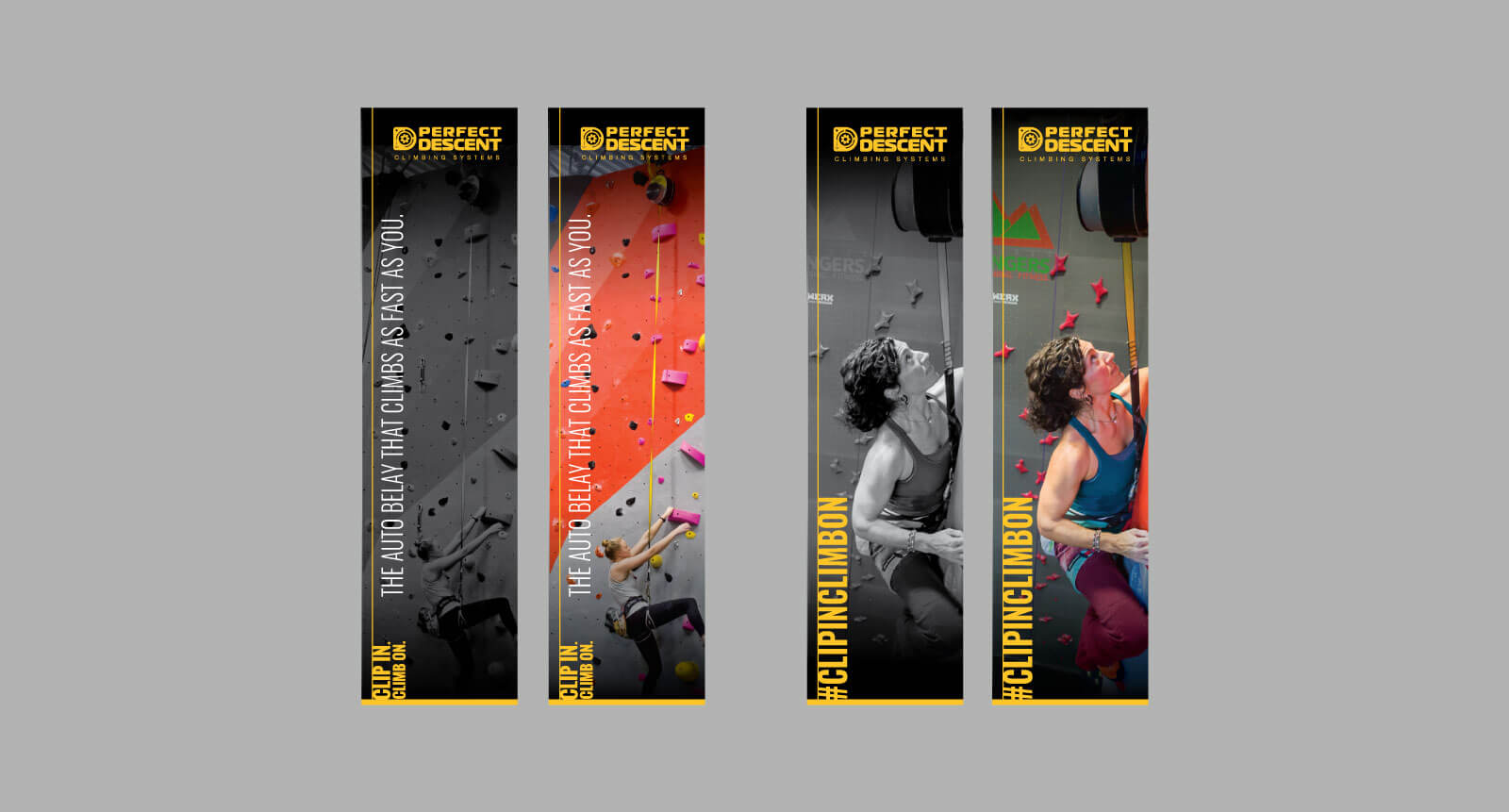 Vertical print advertisements for Perfect Descent highlighting auto-belay mechanism and climbing wall with a female rock climber