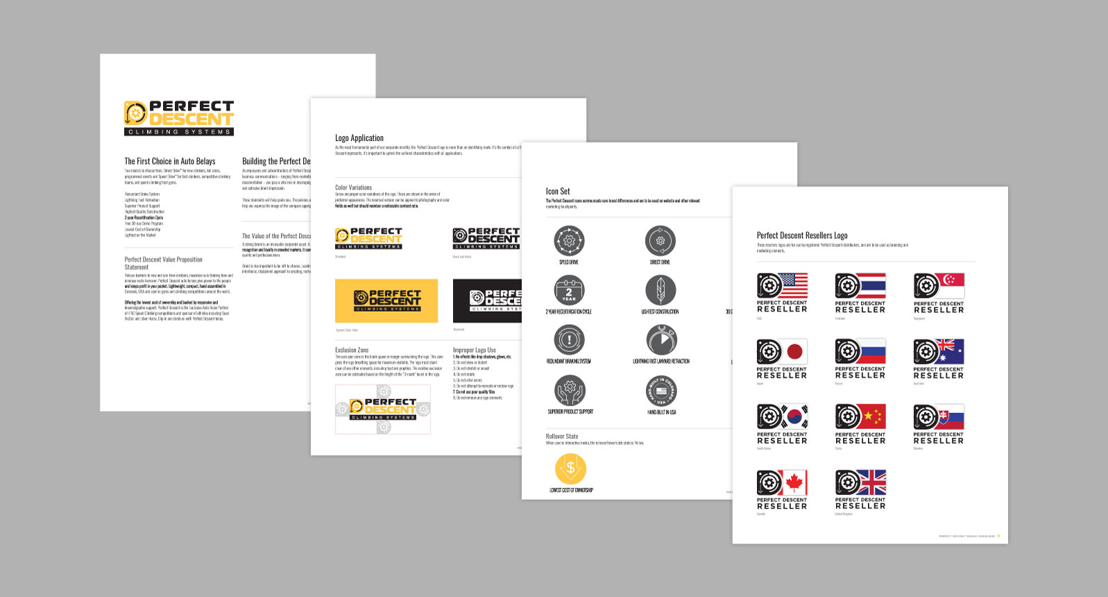 Pages from Perfect Descent branding guidelines document