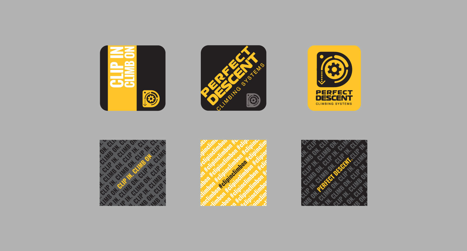 "A variety of Perfect Descent stickers with logos and ""Clip in. Climb on."" tagline"