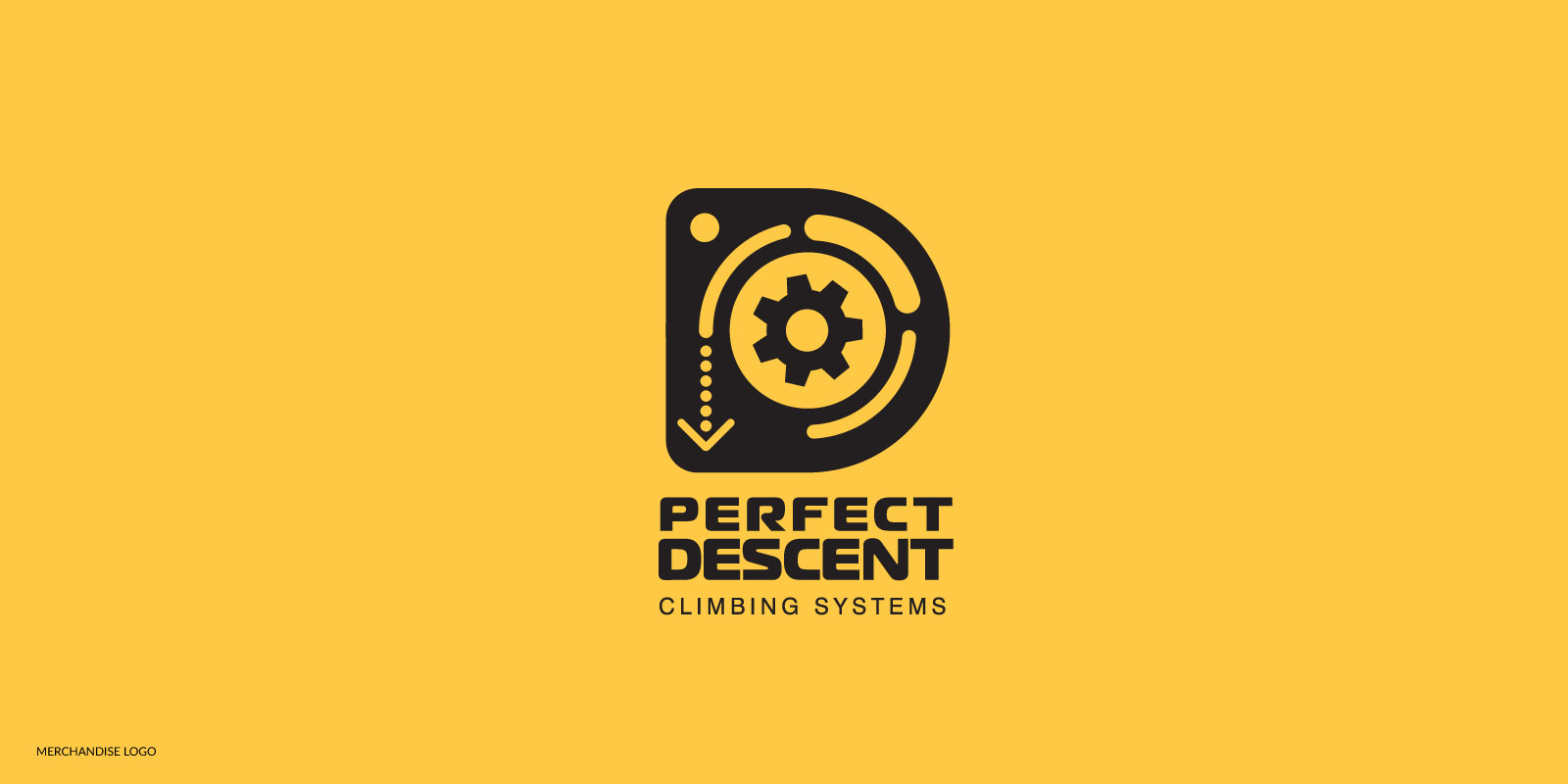 Perfect Descent D gear logo in black on a yellow background