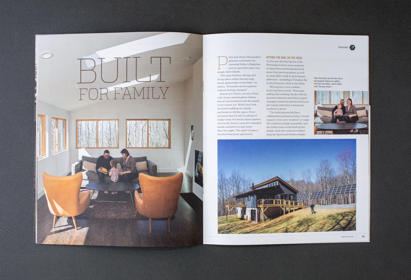 Deltec Homes 180° Magazine spread featuring a family inside and exterior image of home and solar panels