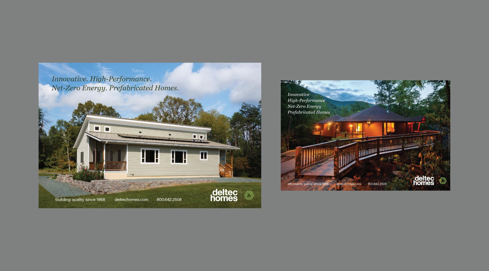 Deltec Homes print Advertisements shown on gray background