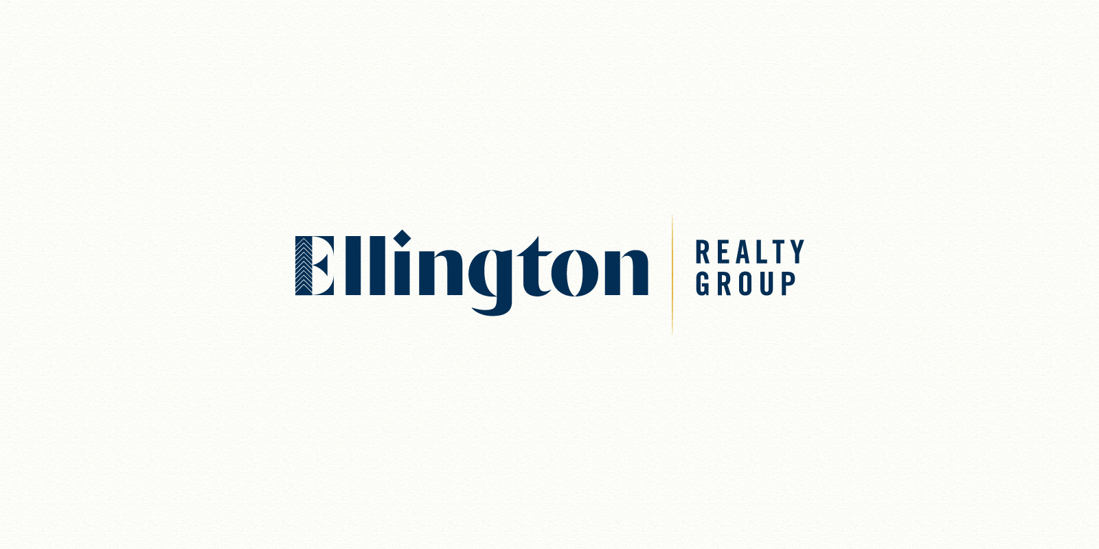 Ellington Realty Group logo in blue shown on off-white background