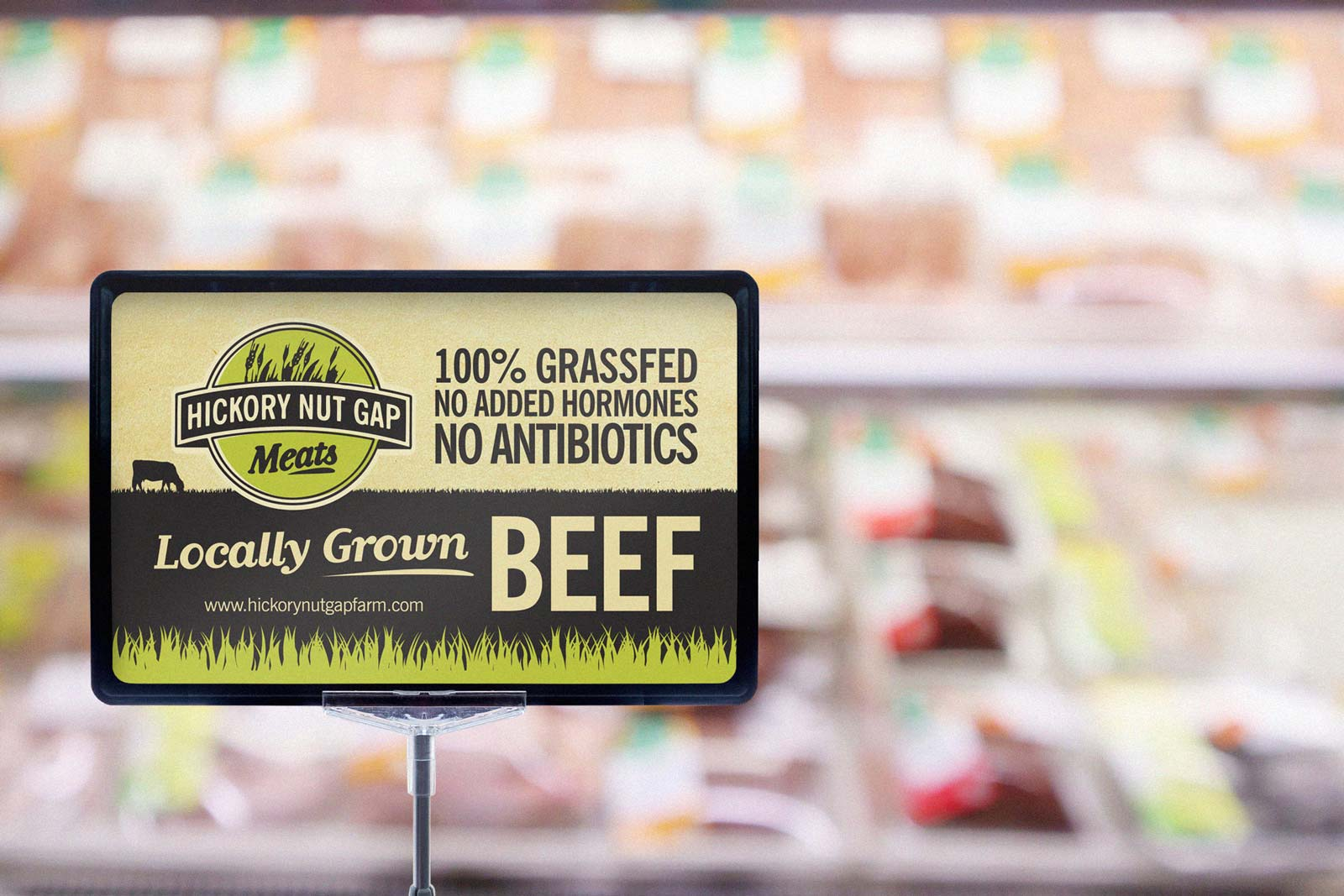 Hickory Nut Gap Meats  Beef placard sign in grocery store