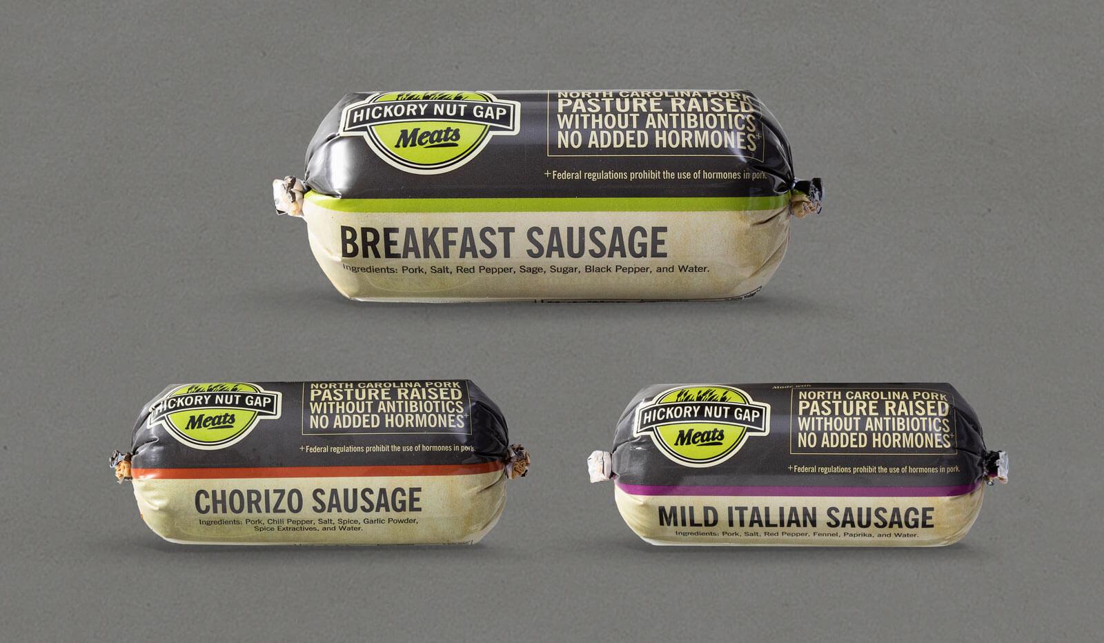 Hickory Nut Gap Meats packaging of Breakfast Sausage plastic vacuum sealed wrap.