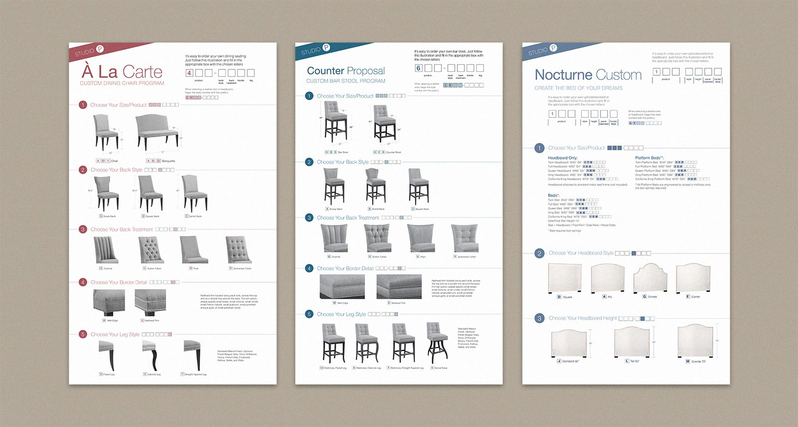 Precedent Furniture tear sheet show steps to building custom chairs, stools and beds