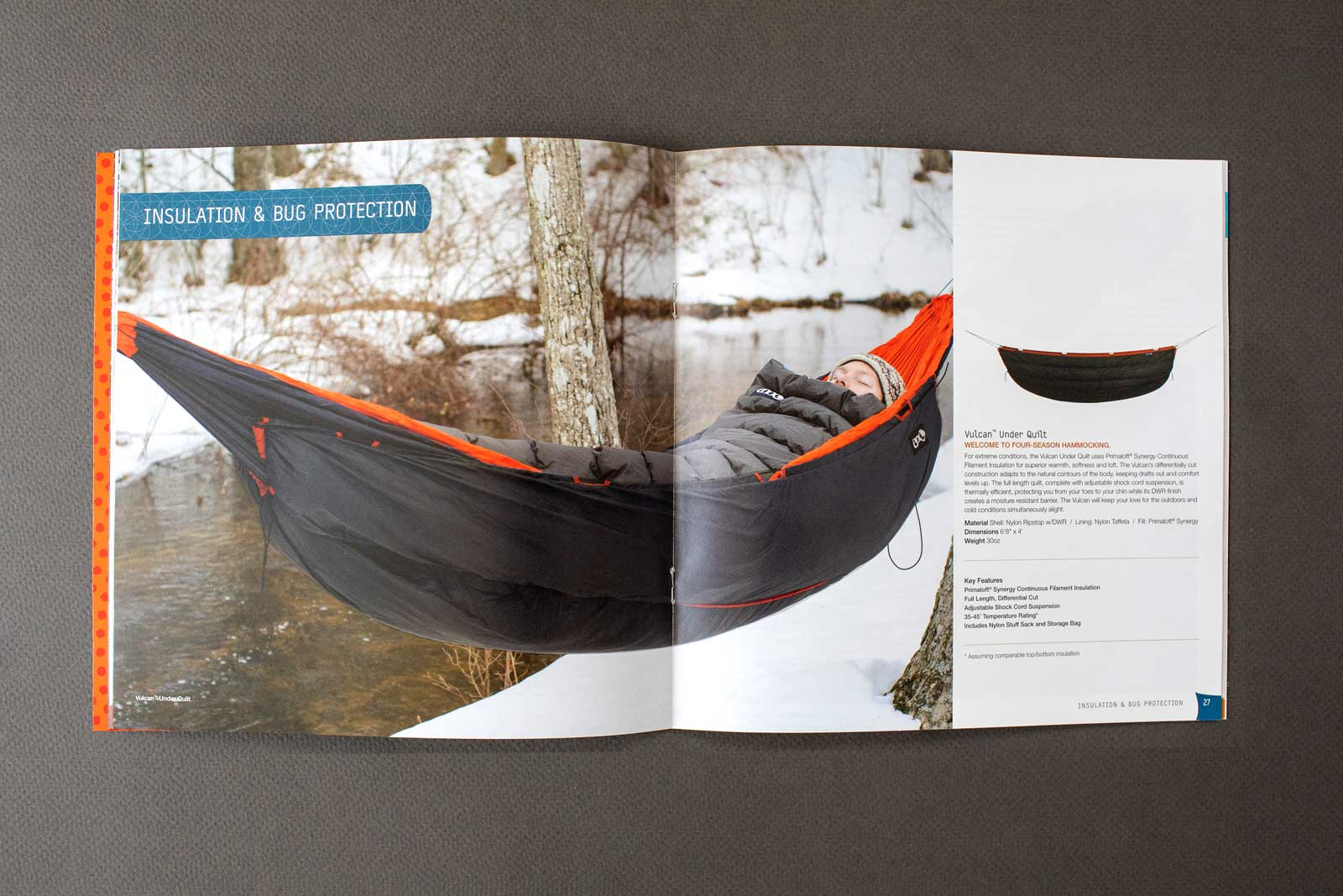 Eagle Nest Outfitters Hammocks catalog spread show products and hiker sleeping in insulated hammock handing over a snow-covered ground.