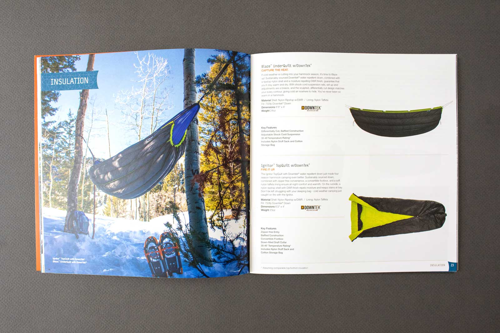 ENO Hammocks catalog spread show products and hiker sleeping in insulated hammock handing over a snow-covered ground.