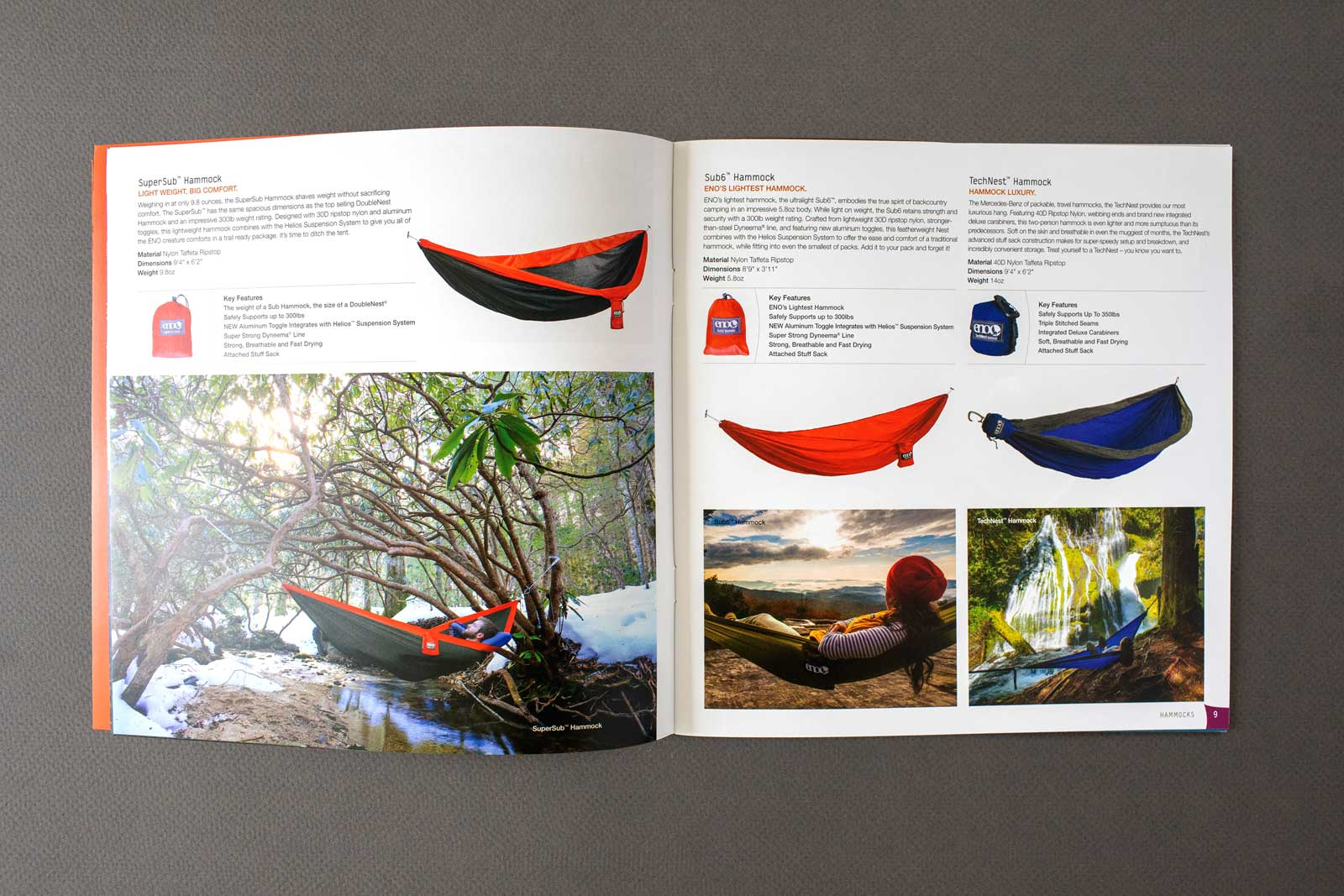 ENO Hammocks catalog spread showing hiker in hammock over stream with snow on the ground, sunset, and waterfall.