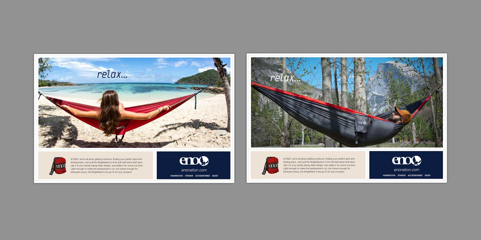 Eagle Nest Outfitter ads shows hammock hanging from tree with clear blue ocean and beach in background. Hammock hanging from two trees with Half Dome in Yosemite National Park, California