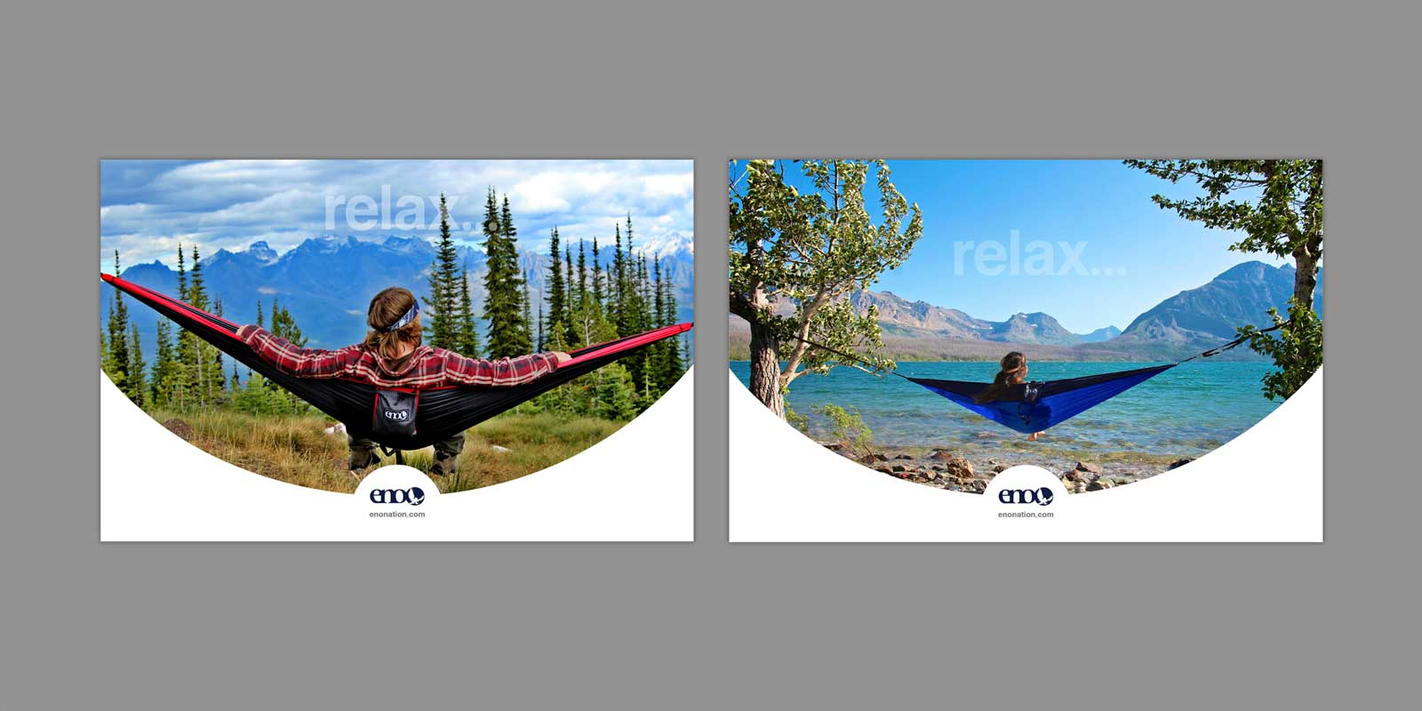 Make hiker relaxes in ENO Hammock, viewing Glacier National Park, Montana. Female hiker relaxes in hammock viewing clear lake and mountains.