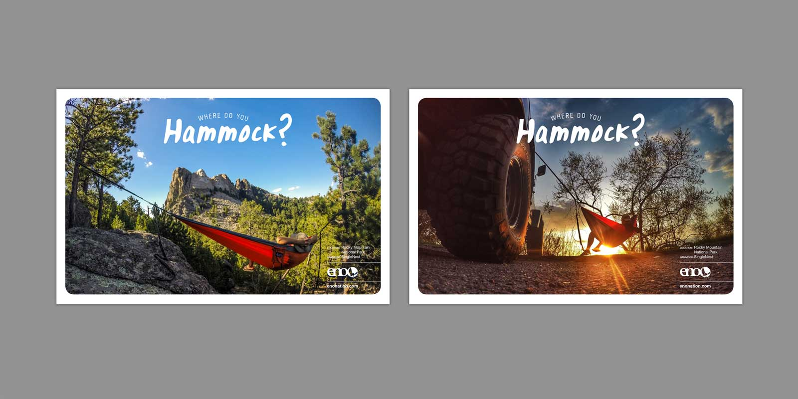 Two Eno Hammocks ads with Mount Rushmore in background. One ad with hammock attached to a Jeep Wrangler.
