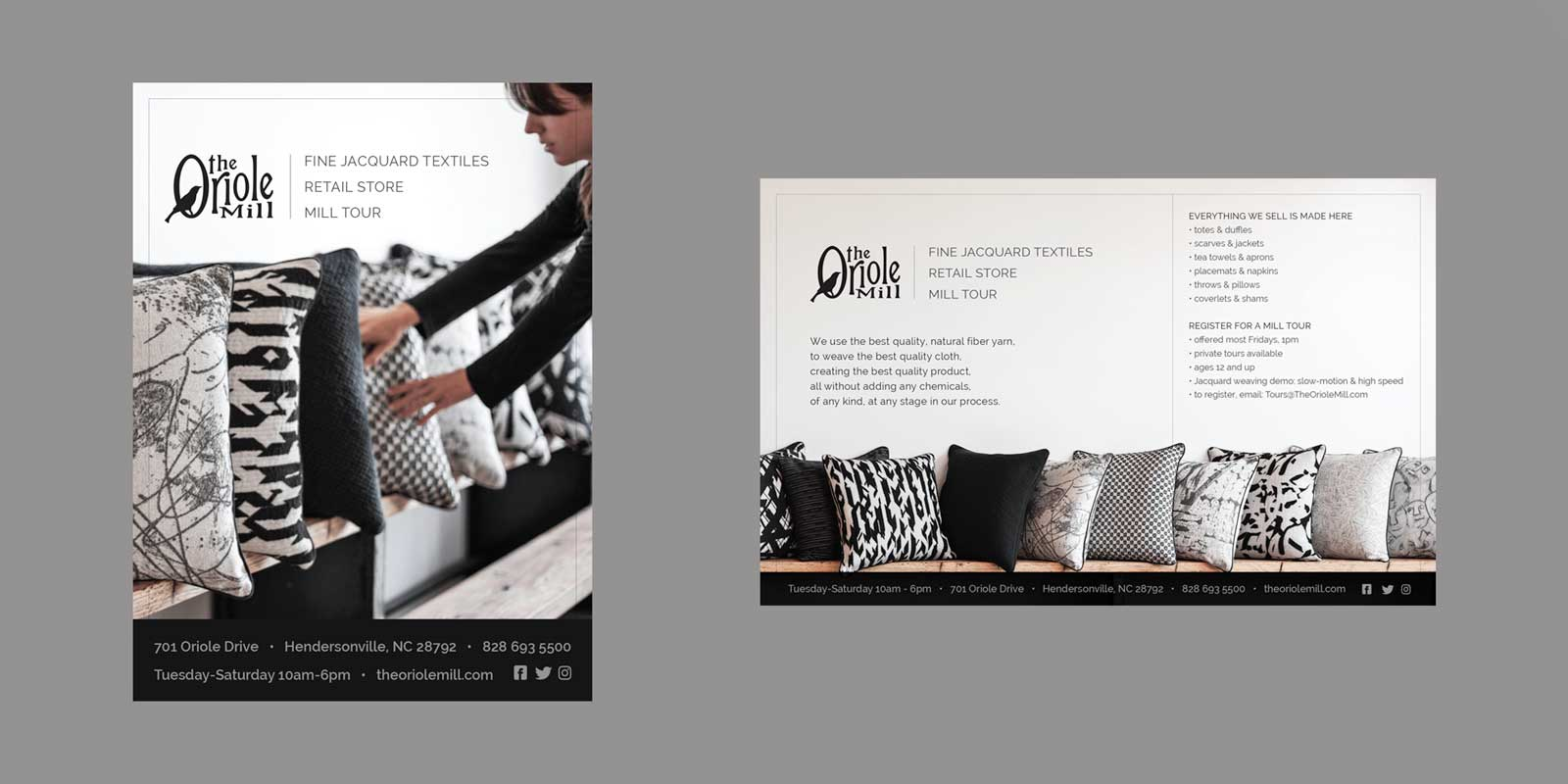 Small print advertisements for The Oriole Mill, showing a variety of black and white patterns on throw pillows