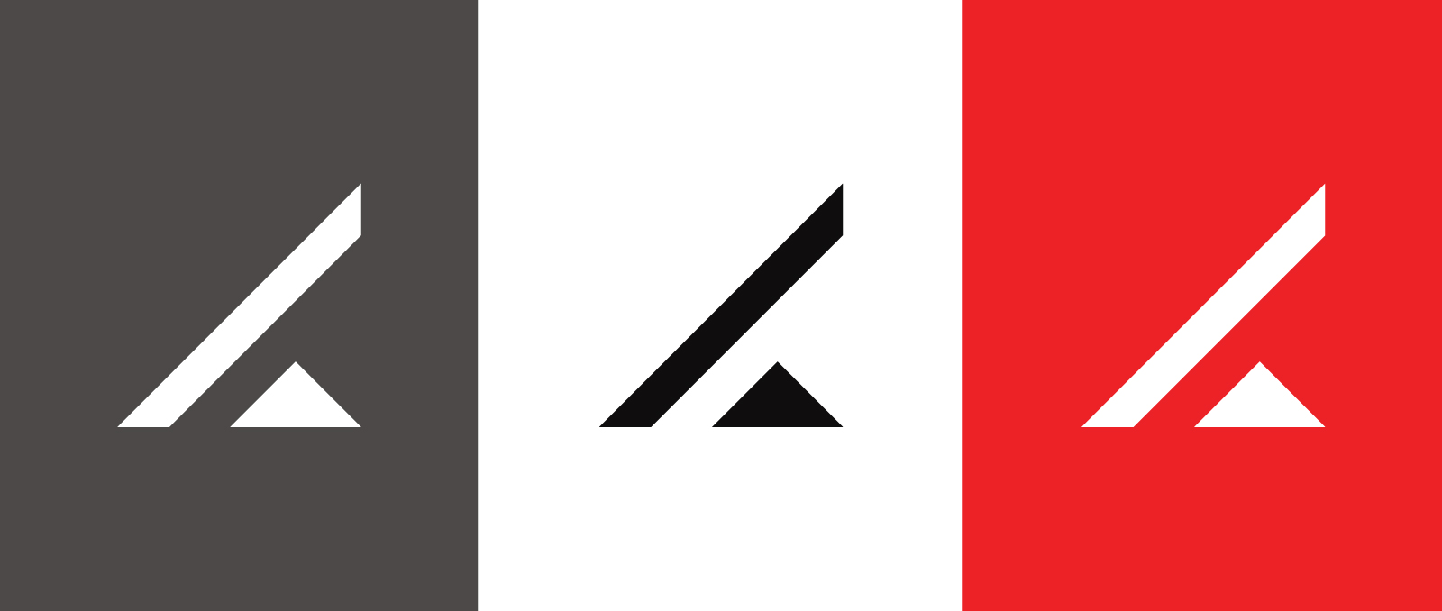 Lever Gear leverage mark with triangle and line shown in a variety of color-ways including white logo on gray, red background