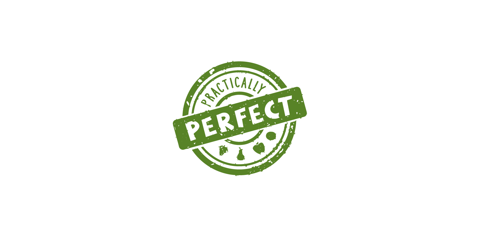 Practically Perfect brand logo in stamp style in green centered on a white background