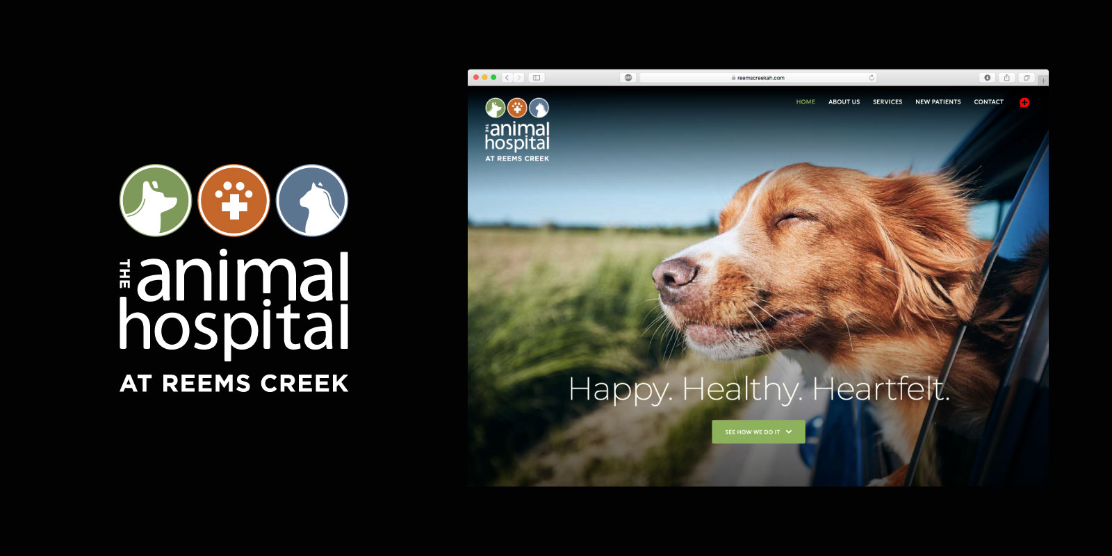 The Animal Hospital at Reems Creek logo and website screen grab on black background