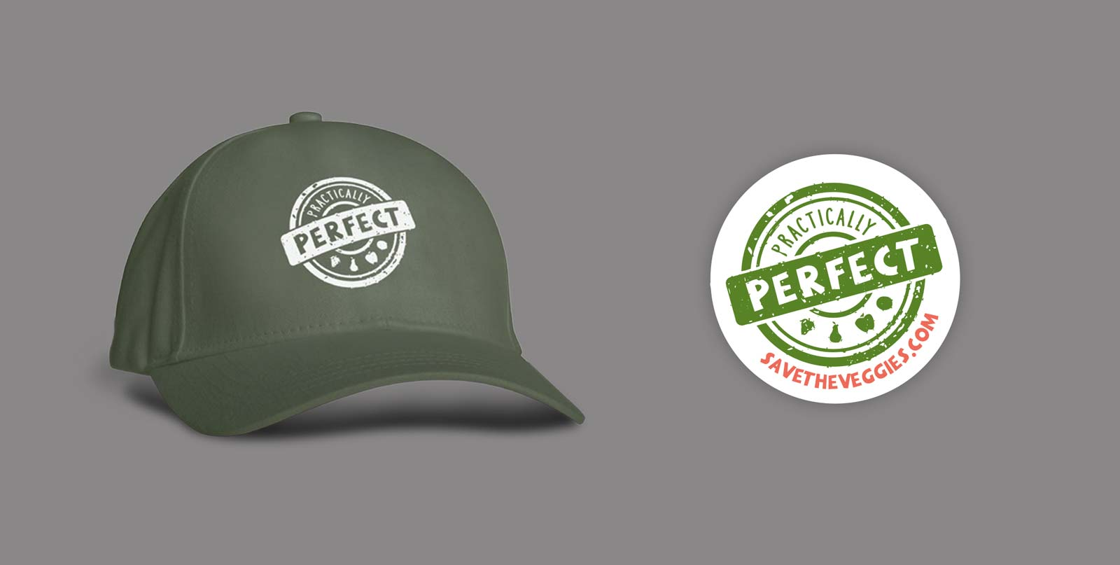 Practically Perfect brand stamp logo centered on a green hat and white circular sticker