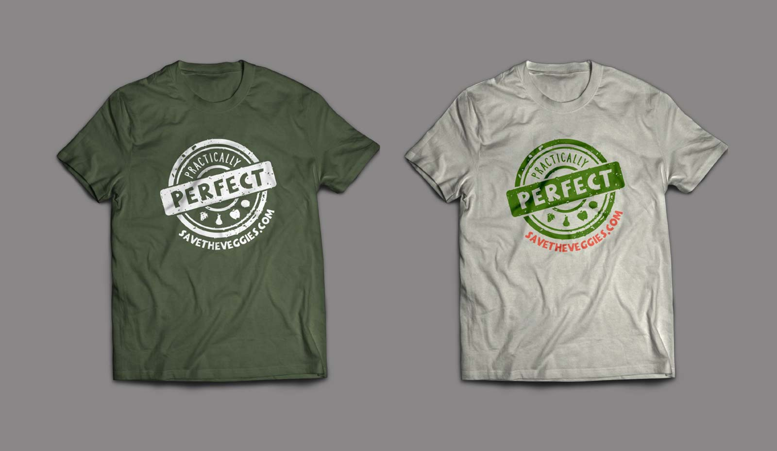 Practically Perfect brand stamp logo centered on a green and gray shirts