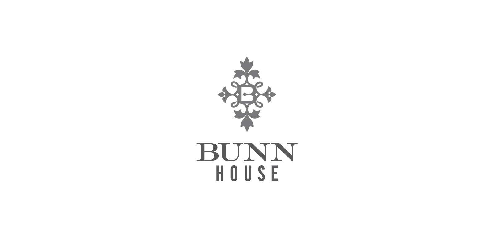 Bunn House Boutique Hotel logo in gray centered on white background