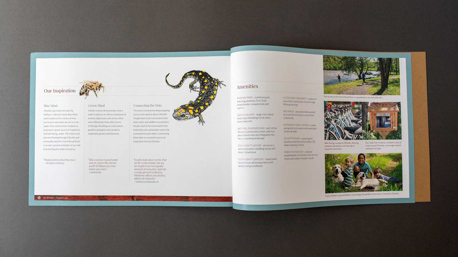 Olivette Riverside Community and Farm catalog book spreads with images of the property and illustration of a salamander