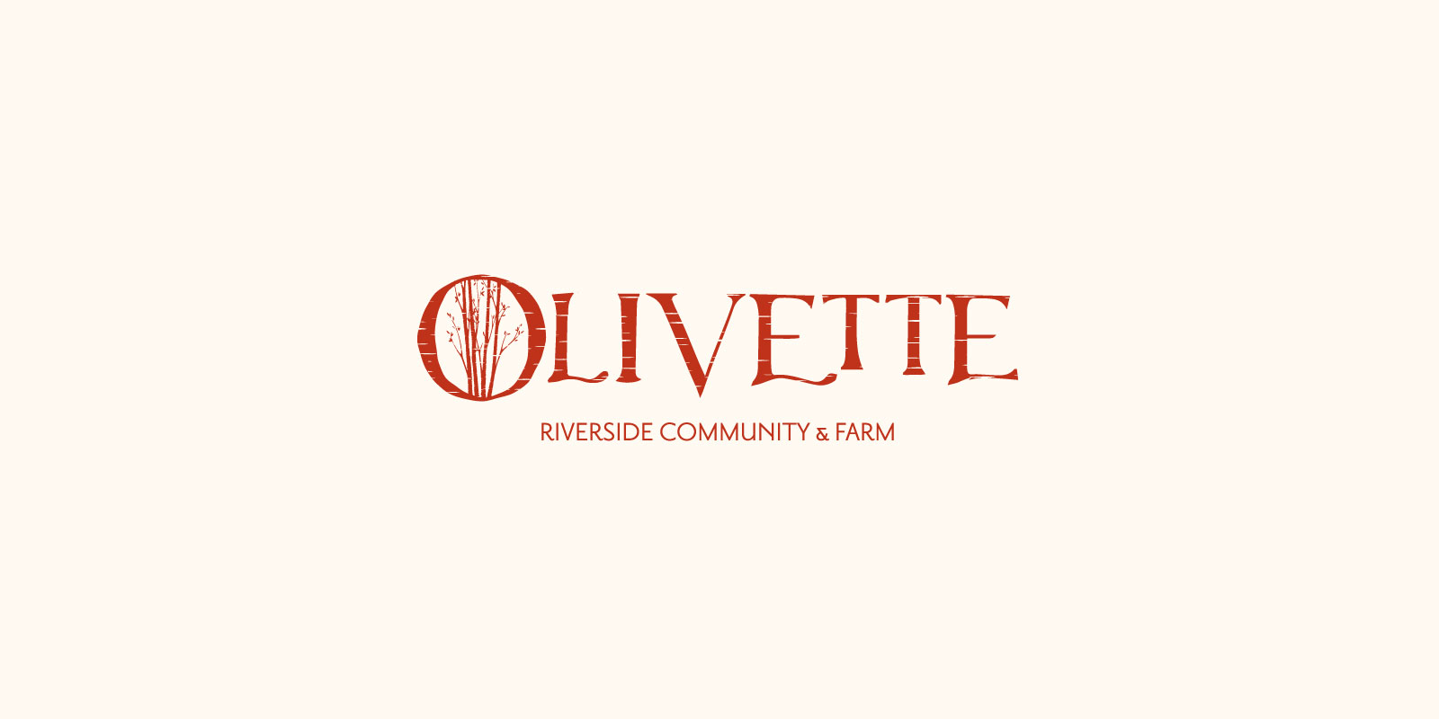 Olivette Riverside Community and Farm logo in red against and off-white background