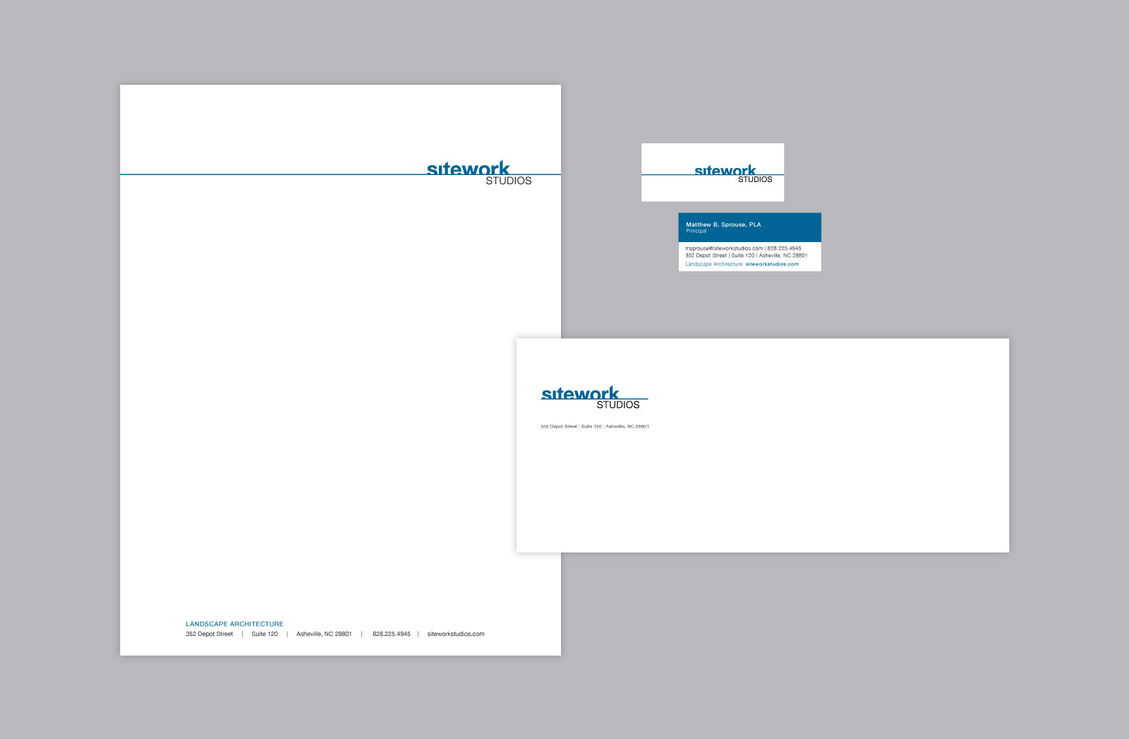 Sitework Studios stationery against a light gray background