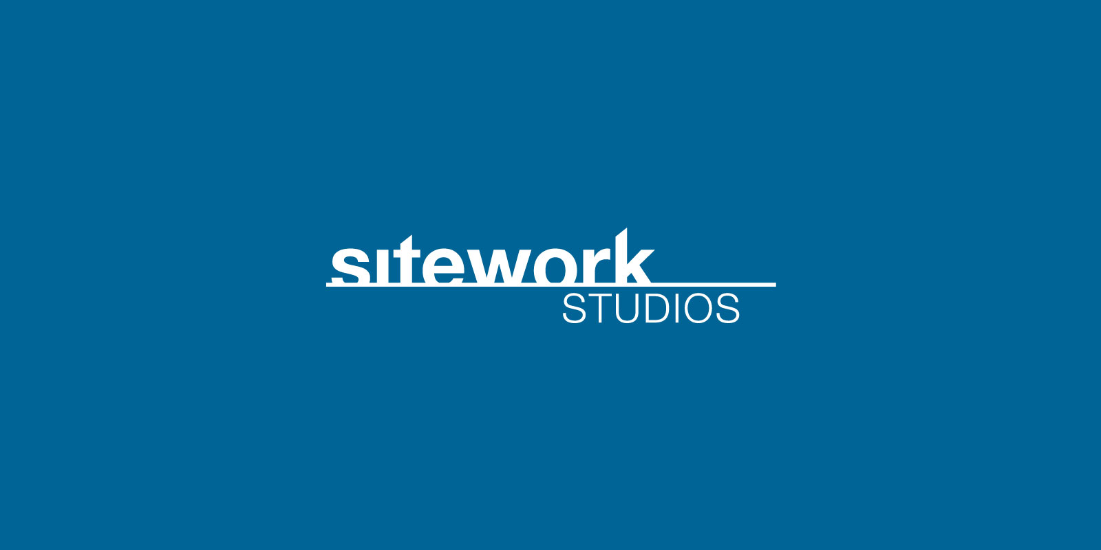 Sitework Studios logo on a royal blue background