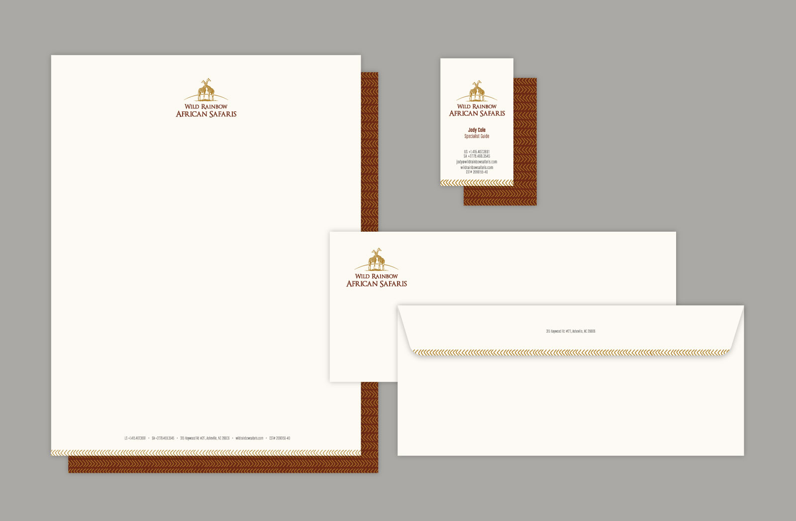 Wild Rainbow African Safari stationery with off-white paper including envelope, letterhead, and business cards