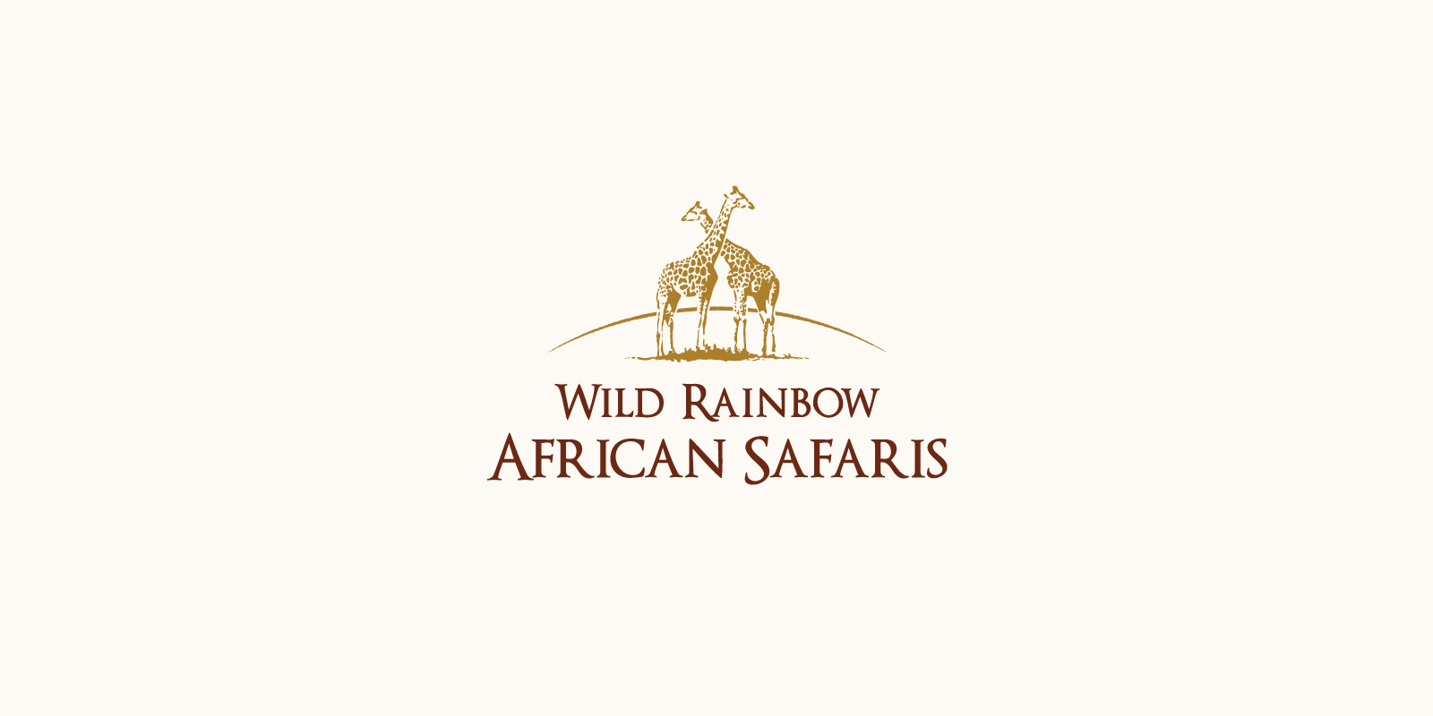 Wild Rainbow African Safari logo on a white background with to giraffes with necks crossed in gold, with burgundy type