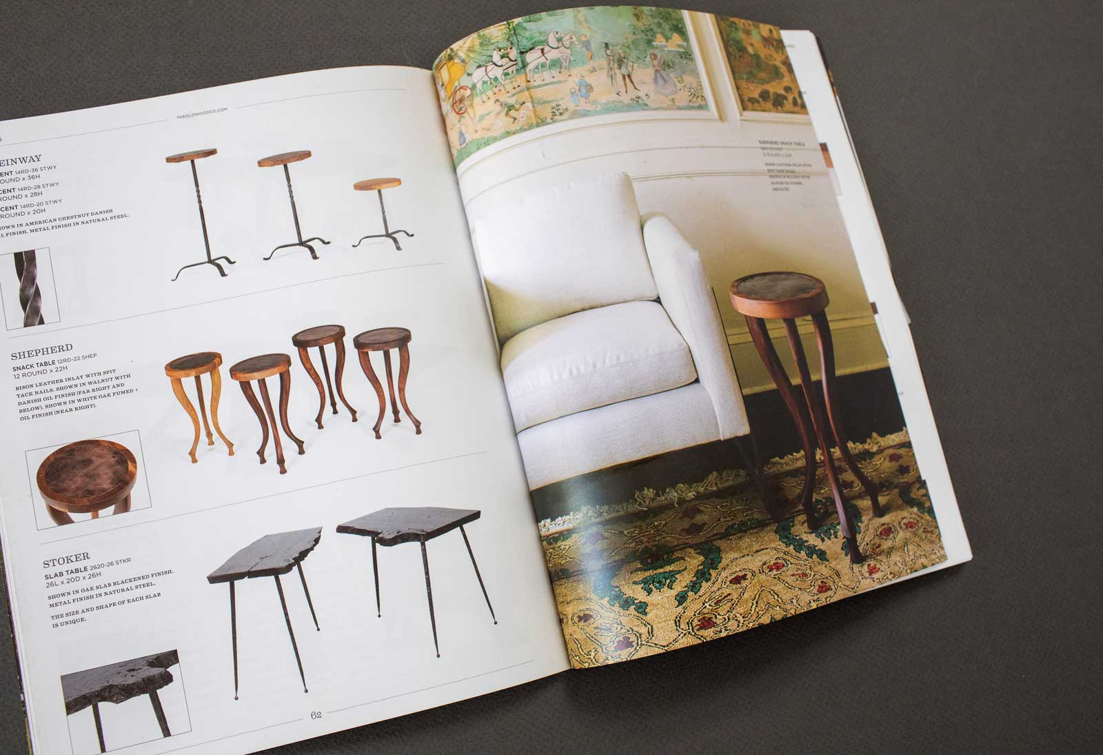 Old Wood Furniture Company catalog spread shows a variety of small tables with wooden tops