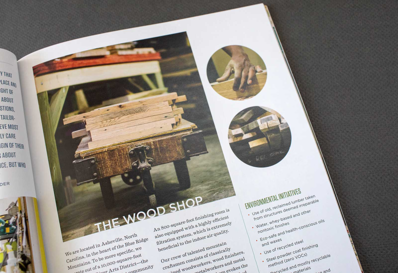 Old Wood Furniture Company cropped catalog spread shows images of the work shop