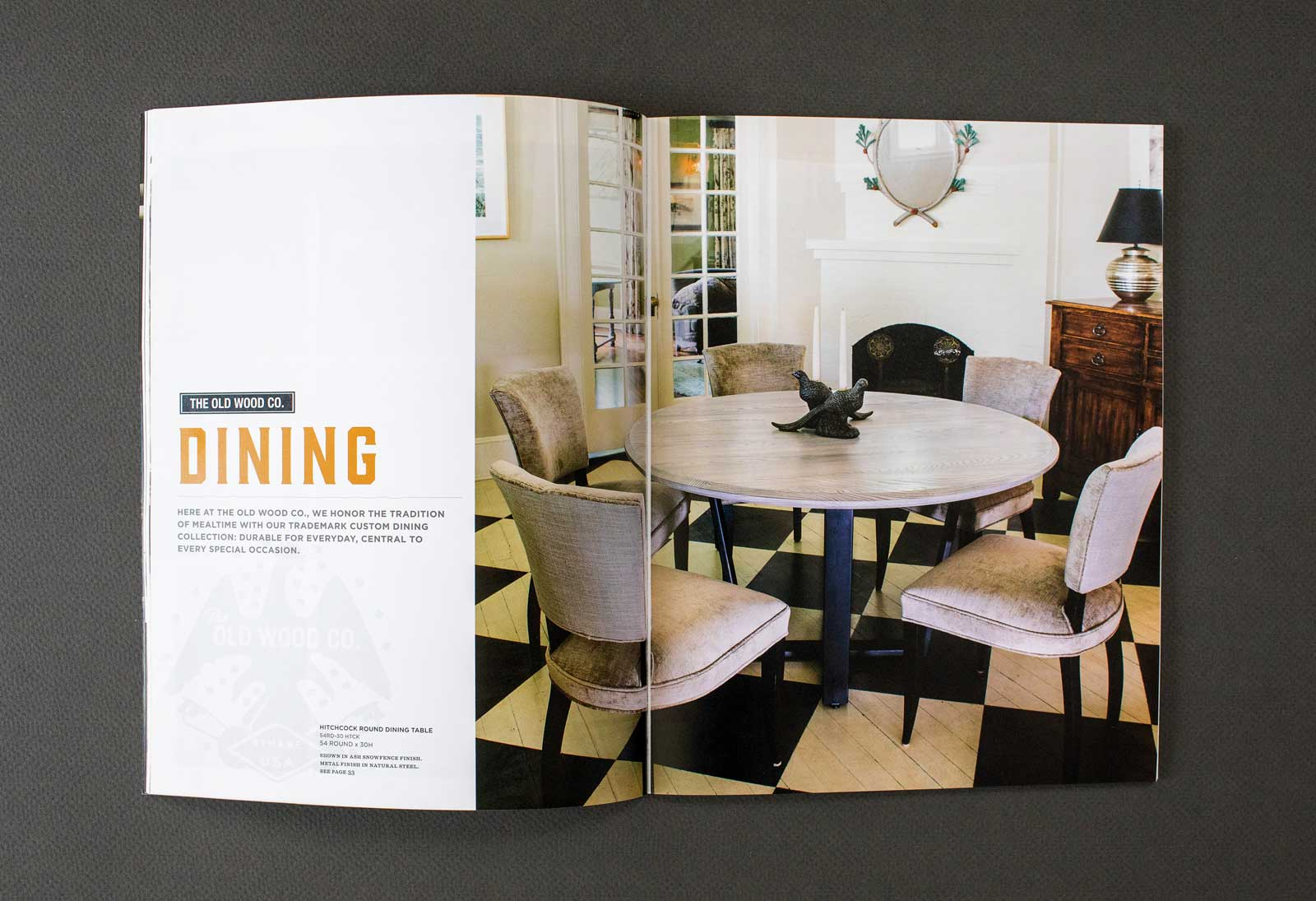 Old Wood Furniture Company catalog spread shows a large dining table with a light colored top and dark legs