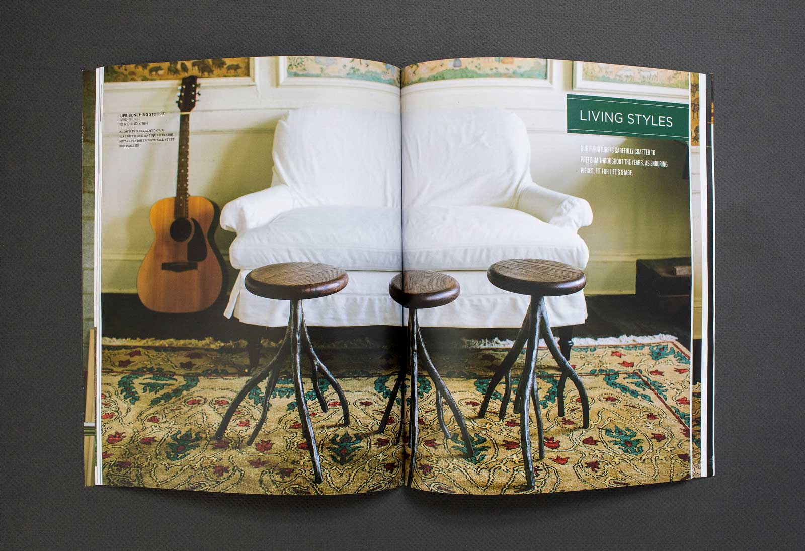 Old Wood Furniture Company catalog spread shows a bar stools with wood tops and organic metal legs