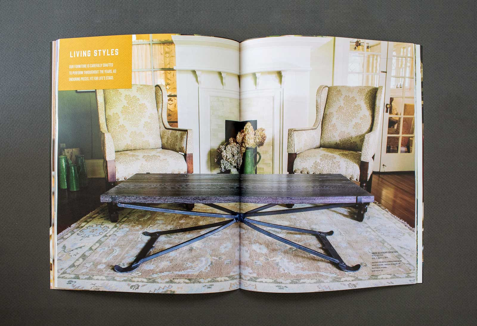 Old Wood Furniture Company catalog spread shows a large coffee table with organic metal legs