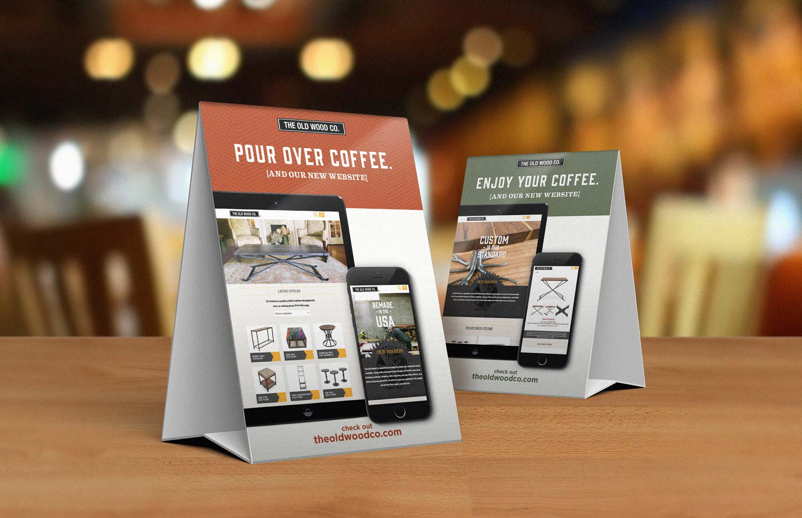 Old Wood Furniture Company table tents for coffee shows iPad and iPhone with website pages