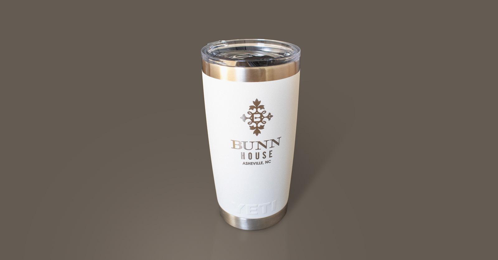 Bunn House Boutique Hotel White Yeti mug with gold logo