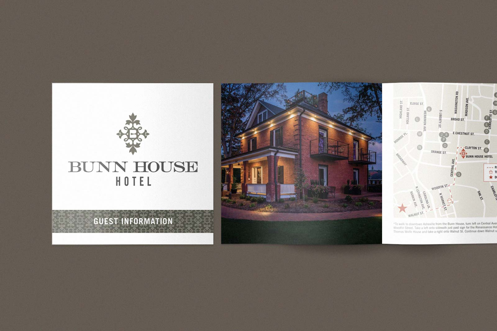 Bunn House Boutique Hotel guest book cover.  on natural paper and opening spread showing the house and an area map.