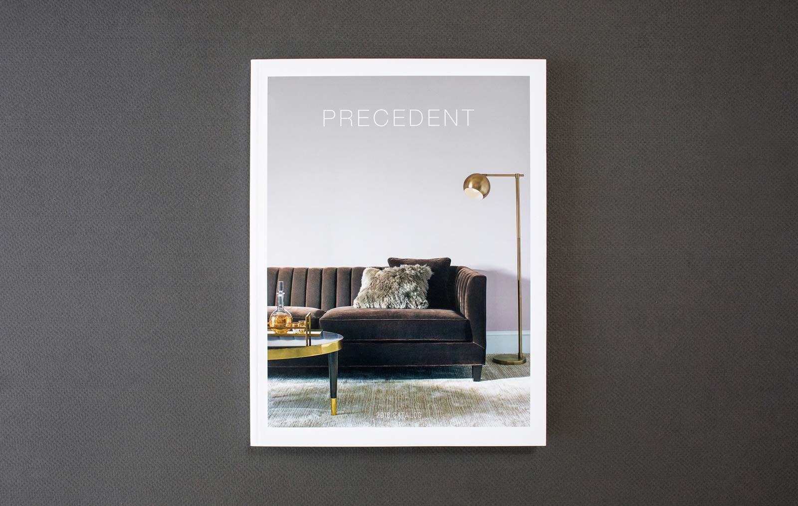 Precedent Furniture catalog cover with gray sofa.