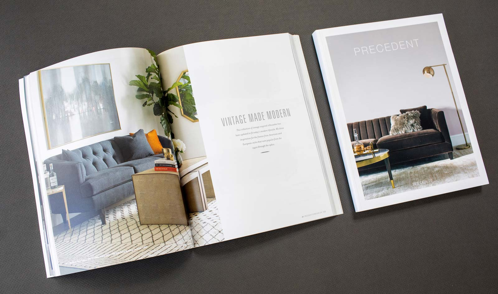 Precedent Furniture catalog spread and cover with blue and gray sofa.