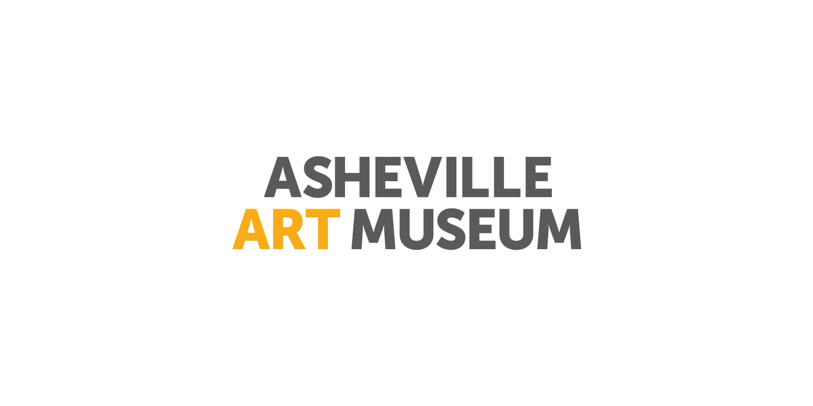 Asheville Art Museum logo in gray and yellow against a white background